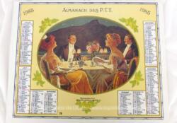 Ancien almanach des P.T.T. de 1985 avec des dessins de reproductions d'almanach d'Oberthur, pour l'année 1919 d'un coté et 1914 de l'autre avec 12 feuillets supplémentaires.