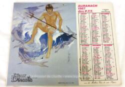 Ancien almanach des P.T.T. de 1987 avec d'un coté un dessin du dieu Neptune et de la déesse Diane de l'autre. Il y a 6 feuillets supplémentaires