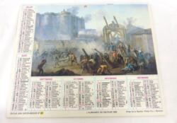 Ancien almanach des P.T.T. de 1989 avec des dessins représentant la Tour Eiffel à des périodes différentes. Il y a 12 feuillets supplémentaires dont un dessin de la Prise de la Bastille.