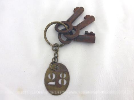 Trois anciennes petites clés anciennes accompagnées d'une plaque ovale en laiton gravée du numéro 28 mesurent de 3 cm à 3.5 cm de long.