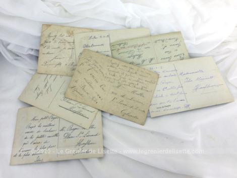 Sept cartes postales couples amoureux début XX° avec des photos sépias très romantiques et colorisées.