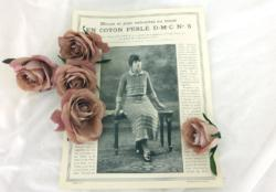Ancienne fiche D.M.C des années 40/50 pour explication pour Blouse et Jupe au tricot, en coton perlé ombré DMC n°5.