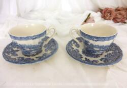 Tête à tête en porcelaine anglaise, 2 tasses et leurs sous-tasses de la marque Myott, Staffordshire, England, modèle Tonquin.