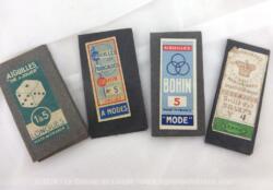 Voici un lot de 4 anciens paquets d'aiguilles de marques différentes avec de superbes étiquettes vintages sur les paquets... alors vous pourrez mettre ces pochettes d'aiguilles en décoration ou vous en servir ! A vous de choisir...