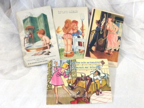 Voici quatre anciennes cartes postales représentant des scènes humoristiques 2 avec des enfants et 2 avec des adultes et datant du début du siècle dernier.