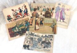 Six anciennes cartes postales humoristiques datant du début du siècle dernier et représentant des dessins humoristiques.