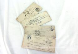 Voici un lot de 4 anciennes petites enveloppes fermées et vides avec le cachet de poste de 1851 dont une avec encore le sceau de cire.