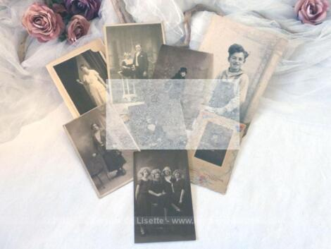 Pour des encadrements ou créations shabby, voici un lot de 8 belles photos anciennes de femmes seules et d'enfants encore dans leur support d'origine - libres de droit.