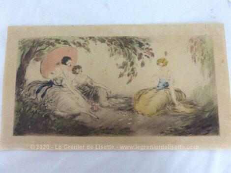 Voici une délicate et ancienne aquarelle signée, datant du début du siècle dernier et représentant des femmes jouant aux cartes.