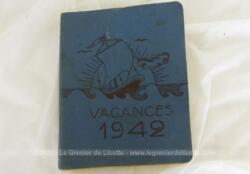 Voici un livret Vacances 1942 sur 190 pages avec photos portant le nom de Carnet de Route pour la Jeunesse Etudiante Chrétienne avec annotations manuscrites du beau voyage.