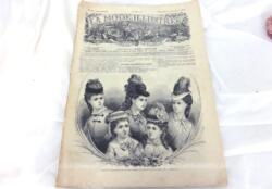 Ancienne revue La Mode Illustrée du 3 décembre 1876 sur 2 grandes doubles feuilles, soit 8 pages de modèles de vêtements pour femmes. Tout le charme de la mode de la fin du XIX°... Incroyable !