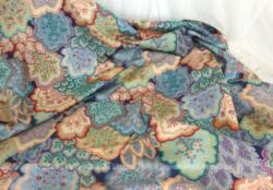 Coupon de tissus aux motifs de feuilles multicolores