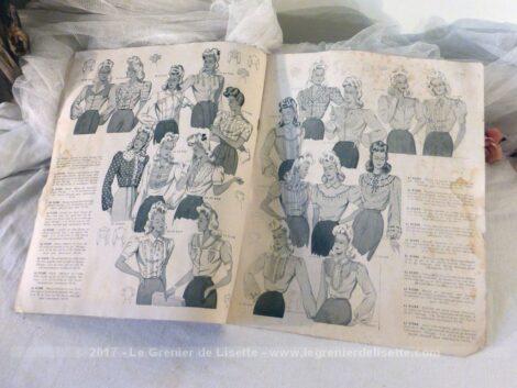 """Voici un ancien catalogue de mode """"Lingerie et Enfants de la Coquette"""" de 1945."""