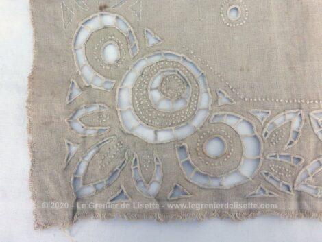 Voici un essai d'ouvrage de dentelle Richelieu sur lin écru sur 46 x48 cm, qui n'a pas été terminé dont le résultat donne un effet très décoratif.