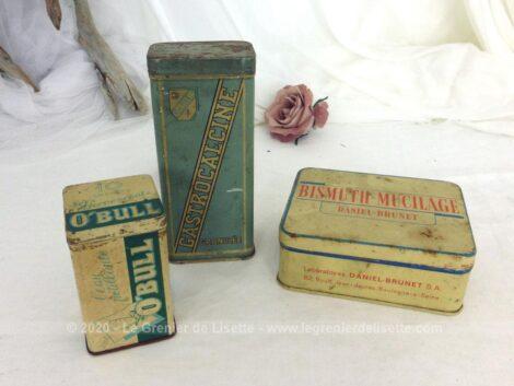 Voici un trio d'anciennes boites de médicaments en fer sérigraphiées pour de la Gastrocalcine, O'bull et Bismuth Mucilage.