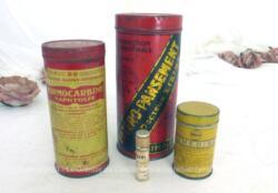 Voici un lot d'anciennes boites de médicaments en fer sérigraphiées pour des Entero-pansement, Formocarbine, Sumedine et un tube de Baume Rosat.