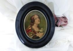 Ancien petit tableau rond en bois avec un dessin cartonné représentant sur Sainte Madeleine de Guido Reni.