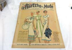 Ancienne revue Le Petit Echo de la Mode du 20 juin 1937 en grand format, véritable trésor vintage de 83 ans avec des dessins de modèles de robes, de tailleurs, de broderies et un patron... tout le mystère de l'élégance pour l'été 1937 !
