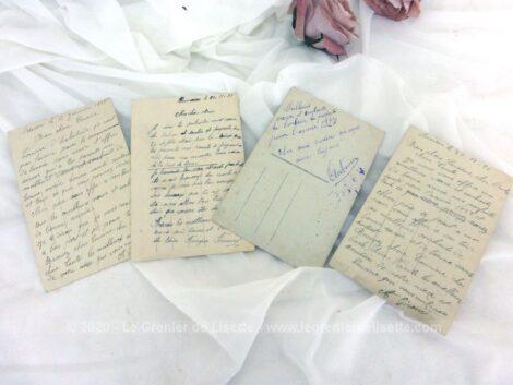 """Voici quatre anciennes cartes postales colorisées représentant des couples souhaitant la """"Bonne Année"""" datées de 1923, 1926, 1927 et 1929."""