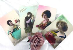 """Voici quatre anciennes cartes postales colorisées représentant des portraits de femmes souhaitant la """"Bonne Année"""" datées de 1922, 1924 et 1926."""