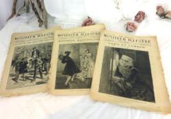 Lot de 3 anciennes revues Moniteur Illustré du 26 avril 1885 et 9 mai et 25 juillet 1886 avec de superbes dessins en couverture.