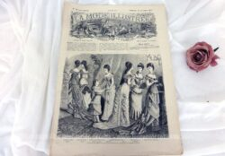 Ancienne revue La Mode Illustrée du 23 décembre 1877 sur 2 grandes doubles feuilles, soit 8 pages avec des modèles sur tout le charme de la mode de la fin du XIX