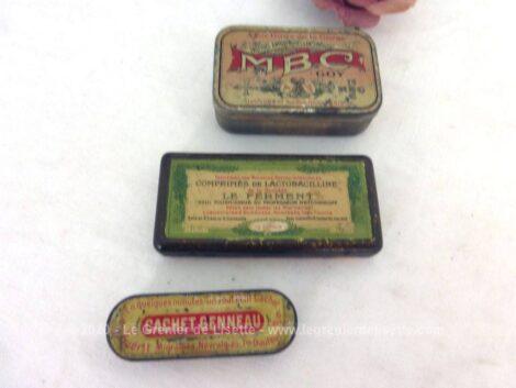 Voici trois anciennes petites boites de médicaments en fer sérigraphiées de MBC, Cachet Genneau et Comprimes de Lactobacilline.