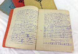 Voici un lot de 4 anciens cahiers scolaires datés de 1954 avec exercices et corrections pour un élève de 12 ans.