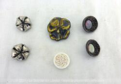Voici un lot de 6 boutons, 2 paires et 2 boutons différents, dont le charme et le détail les font comparaitre à des bijoux.