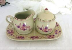 Service original avec un plateau et ses 2 pots, un à moutarde avec son couvercle et un à sauce avec un bec verseur, le tout décoré de fleurs roses tendance shabby.