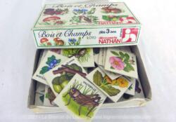 Sur 10 x 15 x 3 cm, voici un ancienne boite de jeu de loto Bois et Champs complète de la marque Découverte Nathan et datant de 1979.