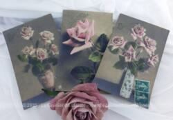 Trois cartes postales anciennes avec de belles photos sépia représentant des roses pour souhaiter une bonne fête et datant du début des années 1900.