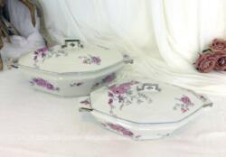 Duo de soupières ou saladiers avec couvercles, très tendance Art Déco en porcelaine de Limoges de deux tailles différentes et décorées de fleurs roses et grises.