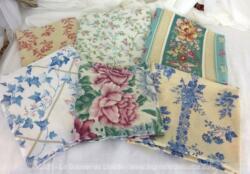 Anciennes taies d'oreiller, voici un lot de 6 coupons de tissus très tendance shabby de 60 x 60 sur chacune des faces.