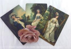 Trois cartes postales anciennes réalisées par Stengel et Cie en Allemagne (Dresden) et représentant des femmes sur des tableaux du XVIII° de Gainsborough et Reynolds.