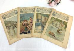 Voici quatre anciennes revues Mon Journal, revue pour enfants avec le numéro 19 du 8 février 1896, le numéro 20 du 15 février 1896, le numéro 21 du 22 févrieer 1896 et le numéro 22 du 29 février 1896.
