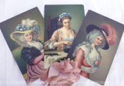 Trois cartes postales anciennes réalisées par Stengel et Cie en Allemagne (Dresden) représentant des portraits de femmes chapeautées de la noblesse Anglaise peintes au XVIII° par des peintres célèbres.