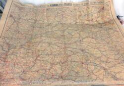 Datant du début du XX°, voici une ancienne carte routière éditée par A.Taride, pour automobilistes et Cyclistes des Environs de Paris, section Nord-Est.