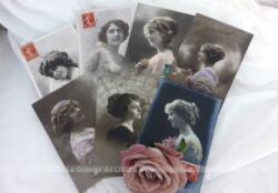 Voici sept cartes postales anciennes de portrait de femme datées de 1912, toutes issues de la même correspondance entre 2 amoureux...