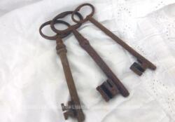 Avec une superbe patine d'origine remplie d'authenticité, voici un lot de 3 anciennes belles clés de manoir de 12 cm de long avec sur chacune un paneton très original.