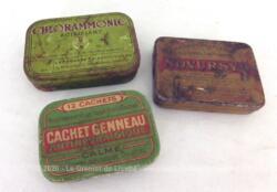 Voici trois anciennes petites boites de médicaments en fer sérigraphiées de Novursyl, Chlorammonic et Cachets Genneau.